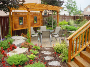 backyard landscape with custom pergola - composite deck