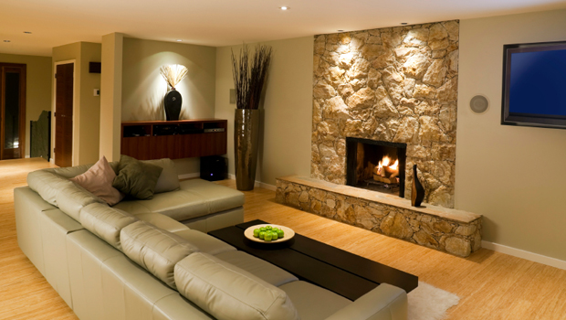 luxury basement renovation with build in fire place