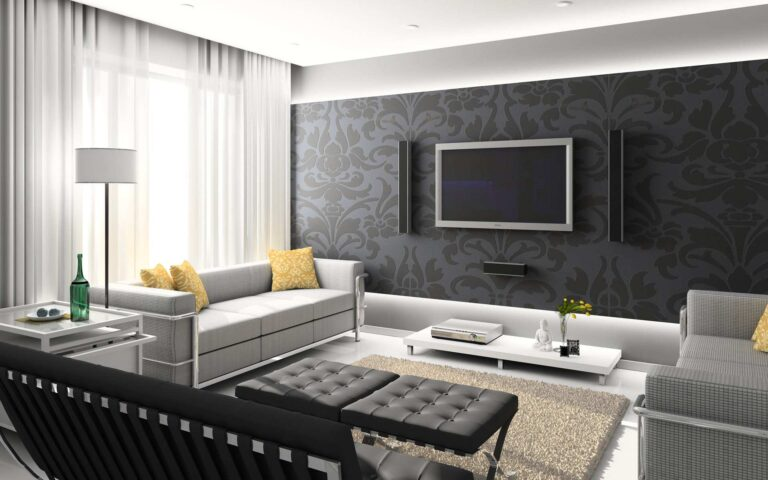 luxury living room with custom wallpaper aurora