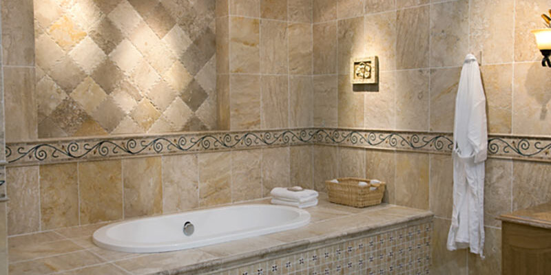 luxury bathroom renovation with custom wall decor - outdoor decks