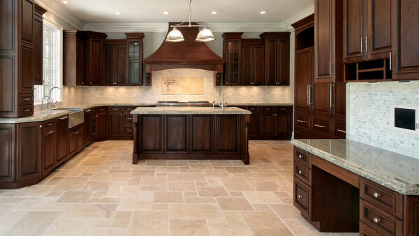 custom kitchen with brown wood cabinets and gray counter top - Pergola Builders Toronto