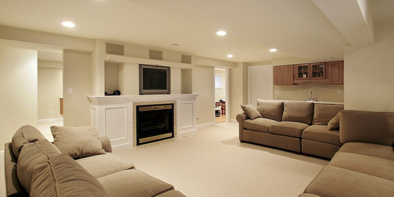 luxury basement renovation with custom fire place - deck contractors toronto