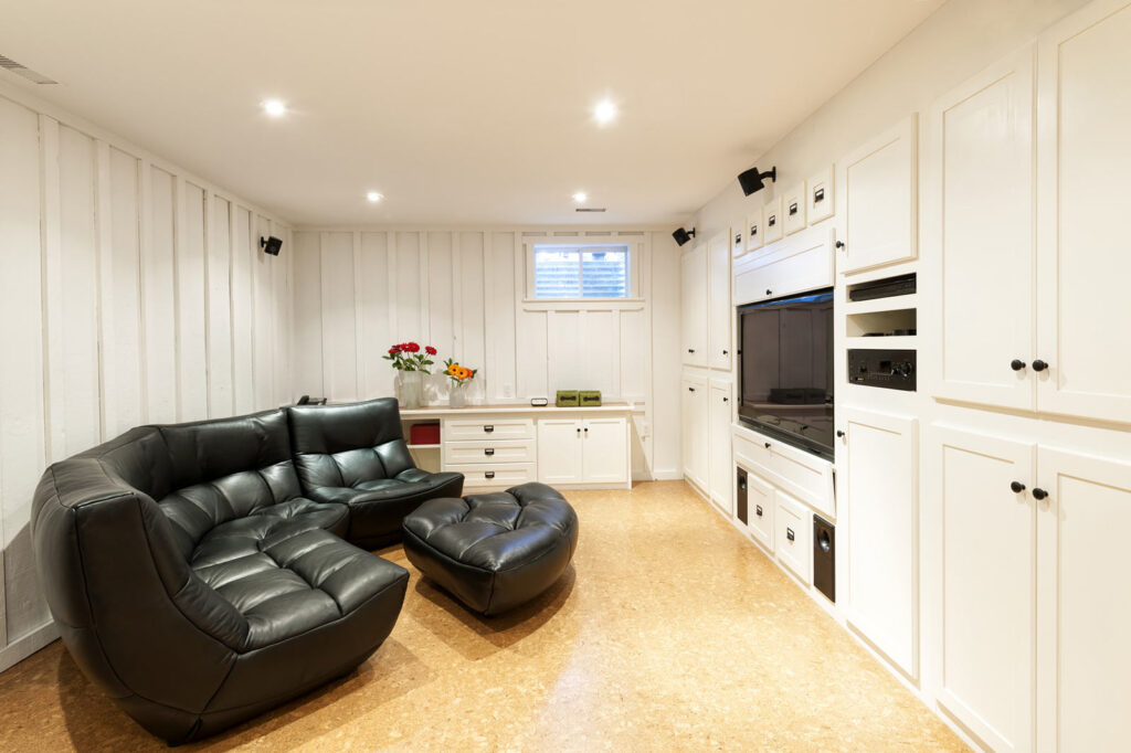 amazing basement family room with luxury entertainment unit north york