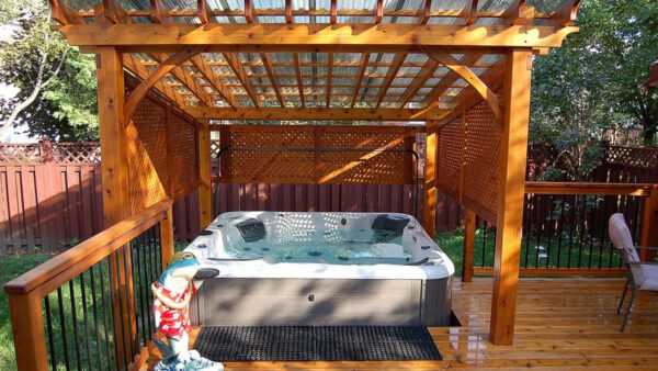 custom pergola with pool on a deck - pergolas on decks