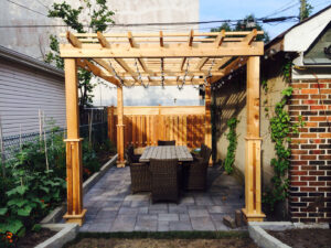 backyard custom Pergolas Design and stone interlocking