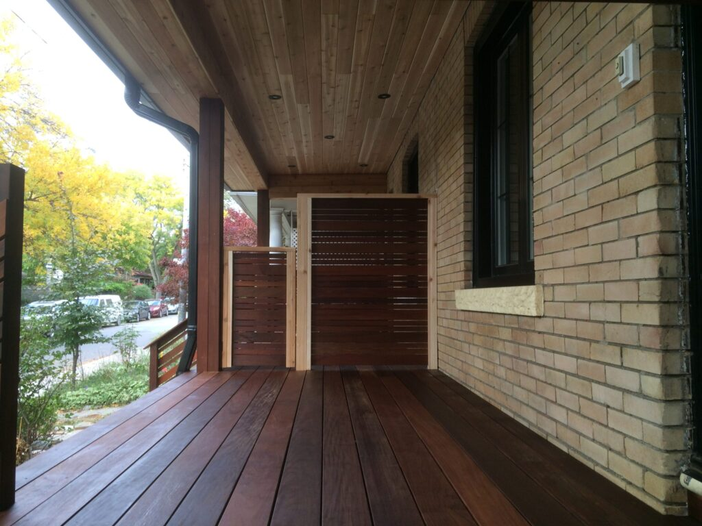 dark brown ipe exotic wood front porch - Deck Design