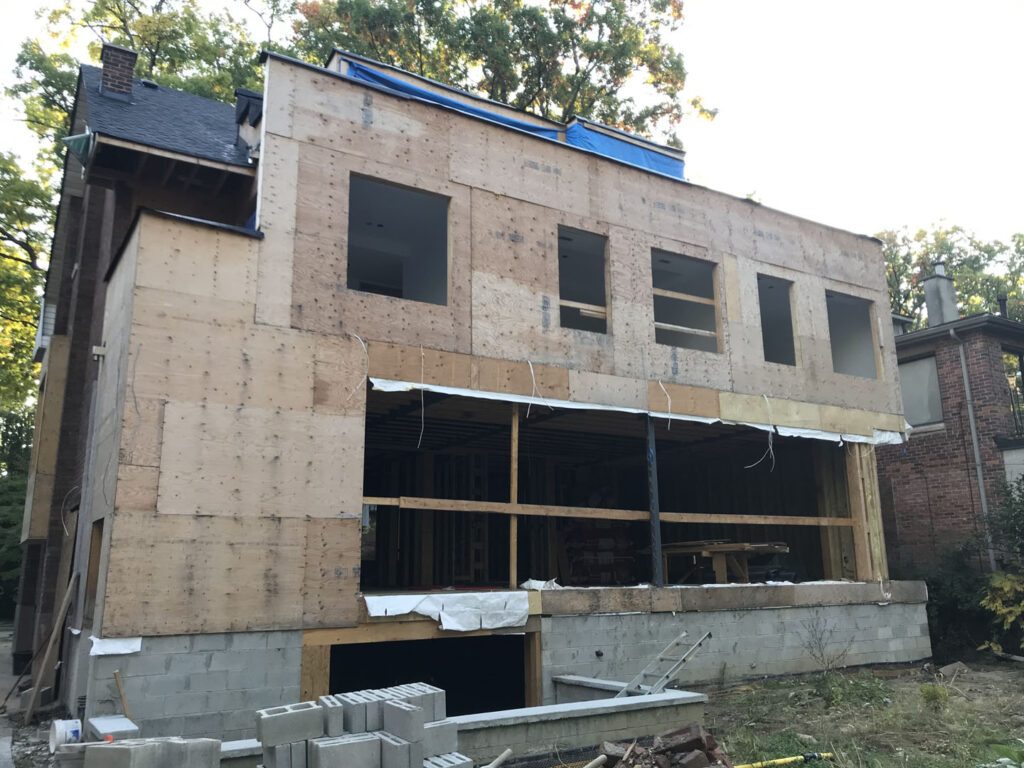 in progress of building home addition in maple
