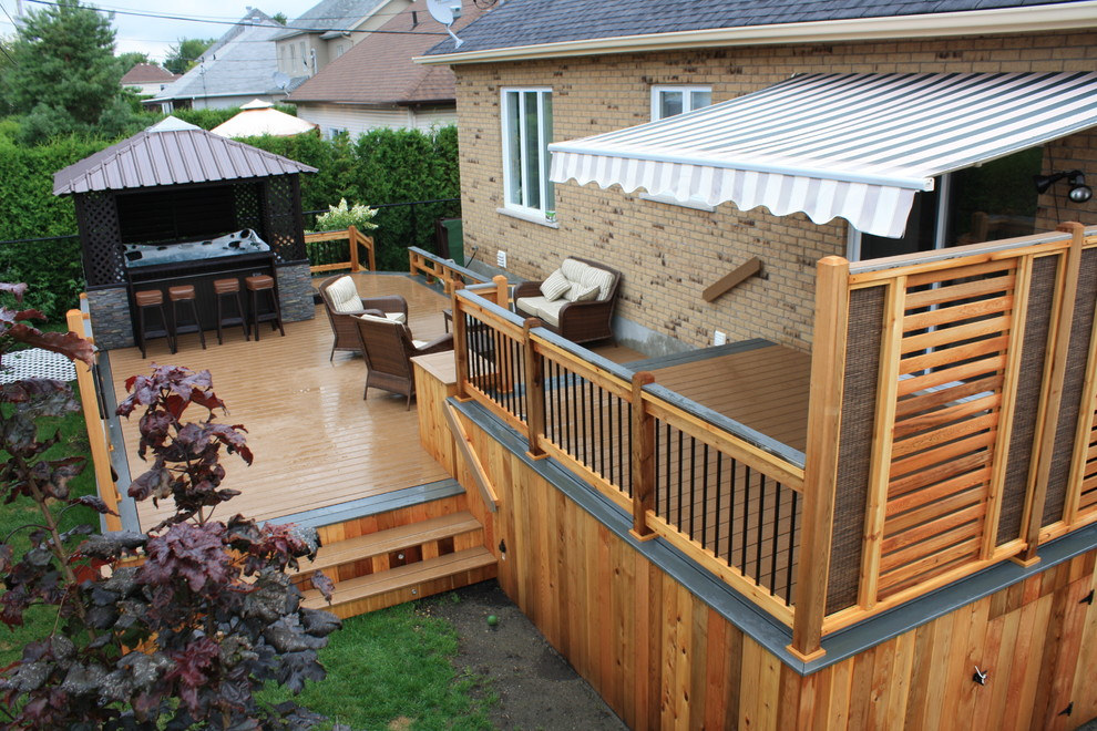 multilevel custom deck in backyard Woodbridge